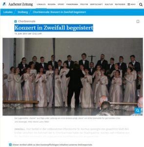 Chorbiennale: Konzert in Zweifall begeistert - Aachener Nachrichten