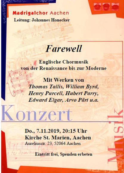 7.11.2019 Konzert Fairwell
